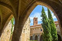 Cloister. Santa Maria de Piedra monastery, Nuevalos, Zaragoza province, Aragon, Spain.