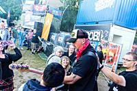 "Kiel, Germany - June 28tht 2019: The Berlin Band """"Benner"""" is performing on the Radio BOB! Rockcamp during the 12th Kiel Week"