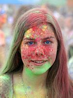 Girl at Color Festival, Krakow, Poland.