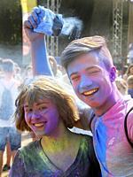 Happy couple at Color festival, Krakow, Poland.