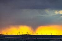 Windfarm and sunset sky. Almansa. Albacete province, Castile-La Mancha, Spain.