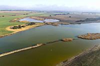 Aerial view of Laguna de la Campana. Complejo Lagunar de Corral-Rubio. Villar de Chinchilla. Albacete province, Castile-La Mancha, Spain.