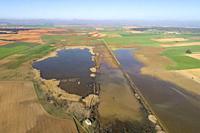Aerial view of a Laguna (small lake) in Corral-Rubio. Complejo Lagunar de Corral-Rubio. Albacete province, Castile-La Mancha, Spain.