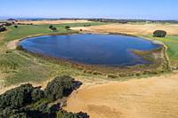 Aerial view of Laguna de Mojón Blanco. Complejo Lagunar de Corral-Rubio. Albacete province, Castile-La Mancha, Spain.