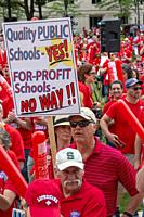 "Lansing, Michigan USA â. "" 18 June 2019 â. "" Michigan teachers rallied at the state capitol to demand that the legislature increase funding for public..."
