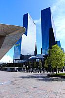 The modern archichitecture of the city of Rotterdam.
