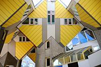 The iconic yellow cube shaped building in downtown Rotterdam.