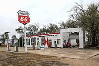 Bent Door Phillips station along Historic route 66, Adrian, Texas.