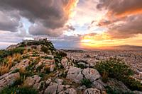 Evening view of Athens from Lycabettus hill, Greece.