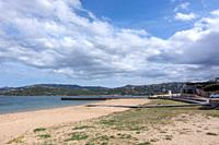 SARDINIA, ITALY - MARCH 7, 2019: Empty sandy natural beaches on a spring day on March 7, 2019 Sardinia, Italy.