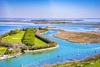 View from the Torcello bell tower of the Venetian Lagoon. Torcello, Venetian Lagoon, Venice, Veneto, Italy, Europe.
