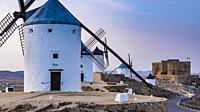 Windmills at sunset. Consuegra, Toledo, Castile-La Mancha, Spain, Europe.