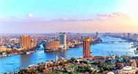 Cairo downtown, view of the Nile, the skyscrappers and the bridges, Egypt.