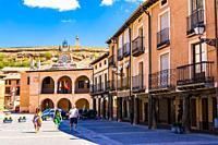 Plaza Mayor, main square. Ayllon, Segovia, Castilla y leon, Spain, Europe.
