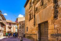 Facade of the palace of Los Contreras. Ayllon, Segovia, Castilla y leon, Spain, Europe.