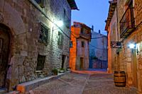 Street, night view. Peñaranda de Duero, Burgos province, Castilla Leon, Spain.