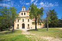 Facade of the church. Moral de Hornuez, Segovia province, Castilla Leon, Spain.
