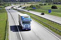 Salo, Finland. June 15, 2019. Blue-white Scania 164G L Retva Oy pulls trailer along European Route E18 in South of Finland on a sunny day of summer.