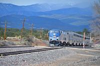 passenger train passing through Rowe, New Mexico.