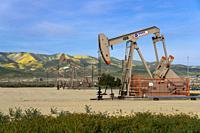 Oil pumpers in the oil fields near Taft, California, USA.