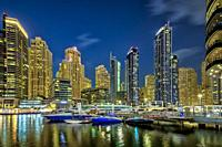 A night view of the marina in Dubai, UAE, Middle East.