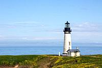 The Yaquina lighthouse, also known as the Foulweather Lighthouse, was built in the 19th Century, to guide mariners off the rugged coast of Oregon.