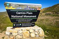 Entrance sign at Carrizo Plain National Monument, California USA.