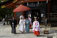 Typical japanese wedding ceremony procession, Kyoto, Japan, Asia.