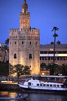 Spain; Andalusia; Seville; Torre del Oro,.