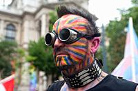 Vienna, Austria, Europe - A participant at the Euro Pride Parade along Ringstrasse in central Vienna.