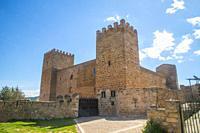 Facade of Santiuste castle. Corduente, Guadalajara province, Castilla La Mancha, Spain.