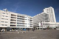 Buildings in downtown Ponta Delgada. Sao Miguel island, Azores islands, Portugal.