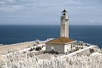 Simulated infrared photo of the lighthouse of Ponta Garça. Sao Miguel island, Azores islands, Portugal.