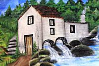 Mural painting of rural home with water-mill.