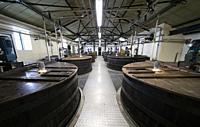 Tun Room at Lagavulin Distillery on island of Islay in Inner Hebrides of Scotland, UK.
