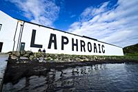View of Laphroaig Distillery on island of Islay in Inner Hebrides of Scotland, UK.