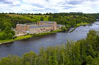 Aerial view of historic preserved Stanley Mills former cotton mills factory situated next to River Tay in Stanley, Perthshire, Scotland, UK.