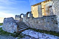 St. Frutos hermitage ruins at Duraton river gorge. Segovia. Spain. Europe.