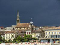 stormy sky over Bergerac, Dordogne Department, Nouvelle Aquitaine, France.