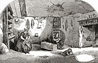 Interior of a Dorchester labourer's cottage in the early 19th century. From The Martyrs of Tolpuddle, published 1934.