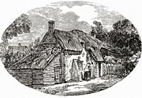 Exterior of a Dorchester labourer's cottage in the early 19th century. From The Martyrs of Tolpuddle, published 1934.