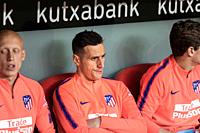 Nikola Kalinic, Athletico player, on the bench during a Spanish League match between Athletic Club Bilbao and Athletico de Madrid at San Mames Stadium...