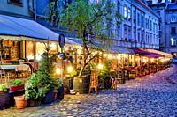 Restaurants in Katedralna Square, Lviv, Ukraine.