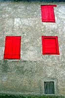 shutters and red windows, Les, Val d´Aran, Catalonia, Spain