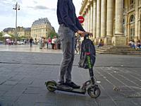 scooter in the Place de la Comedie, Bordeaux, Gironde Department, Nouvelle Aquitaine, France.