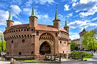 The great barbican and St Florian gate, Krakow, Poland.