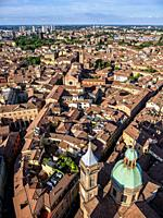 View from the Asinelli Tower, Bologna, Emilia-Romagna, Italy.