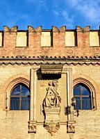 Palazzo d'Accursio, detailed view, Piazza Maggiore, Bologna, Emilia-Romagna, Italy.