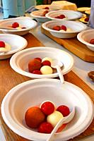dessert dishes of ice cream balls, gastronomic festival ´Tast a la Rambla´, 6th Gastronomy Week of Barcelona, Catalonia, Spain
