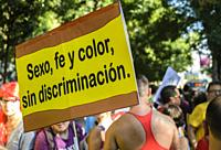 Madrid, Spain. 6 th July, 2019. Gay pride parade takes place in Madrid with thousands of visitors.
